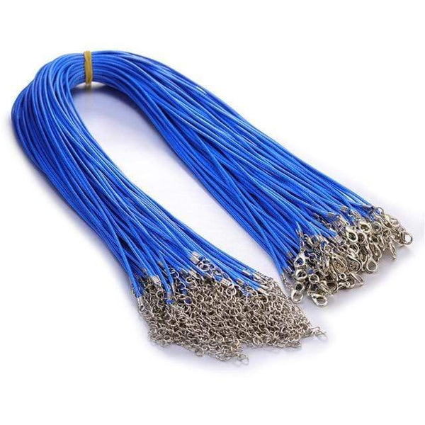 20 Pieces of Blue Genuine Leather Necklace Cord Rope Chains for Jewellery Making Pendants