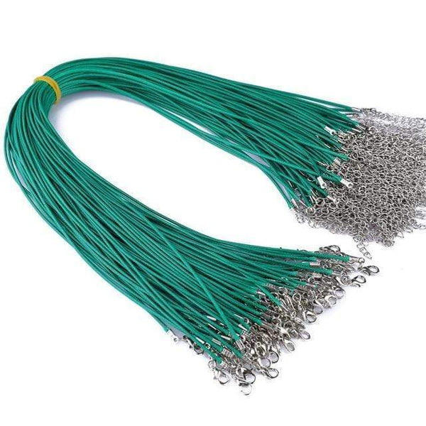 20 Pieces of Green Genuine Leather Necklace Cord Rope Chains for Jewellery Making Pendants