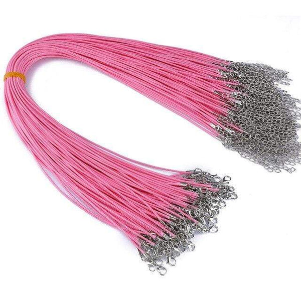 20 Pieces of Light Pink Genuine Leather Necklace Cord Rope Chains for Jewellery Making Pendants