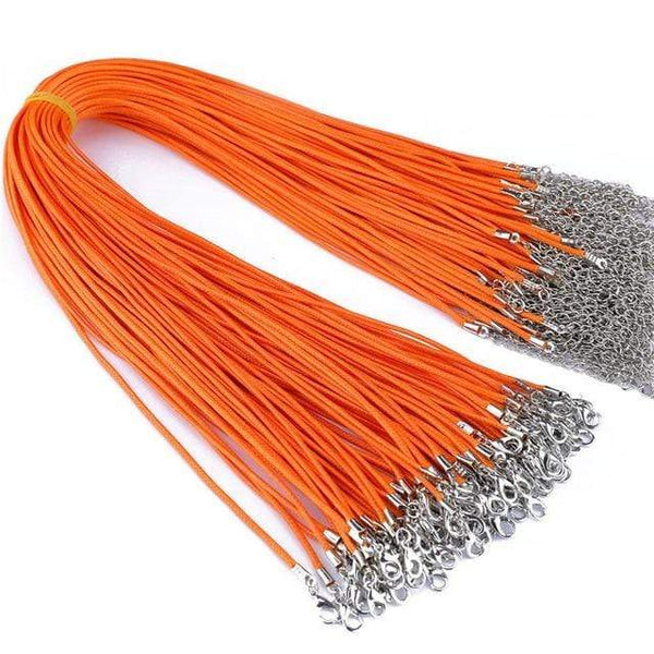 20 Pieces of Orange Genuine Leather Necklace Cord Rope Chains for Jewellery Making Pendants