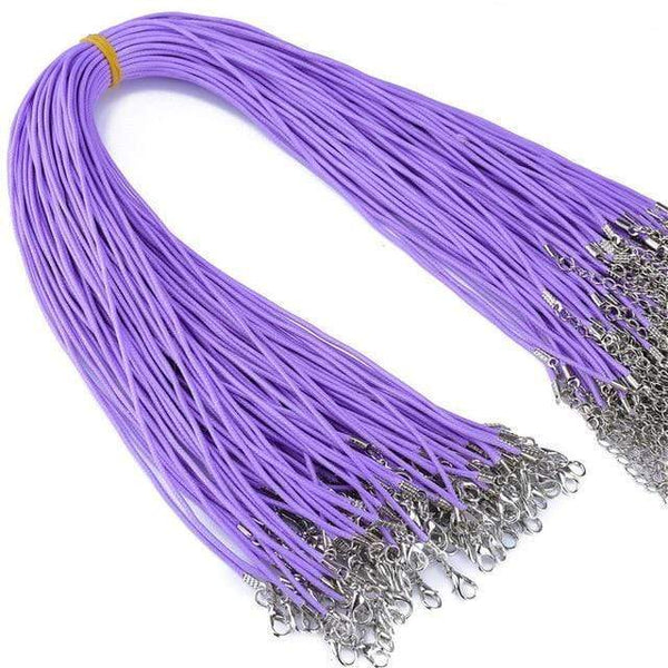 20 Pieces of Purple Genuine Leather Necklace Cord Rope Chains for Jewellery Making Pendants