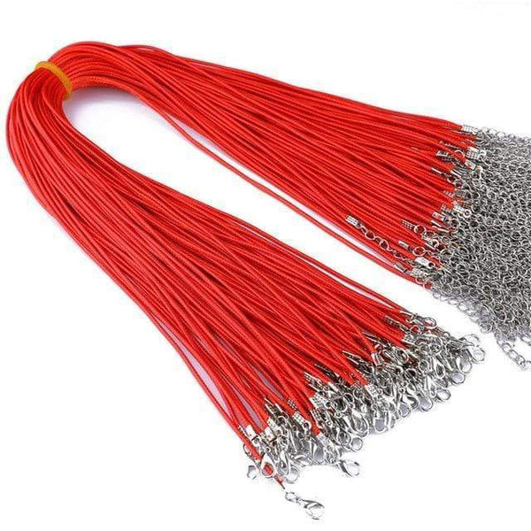 20 Pieces of Red Genuine Leather Necklace Cord Rope Chains for Jewellery Making Pendants