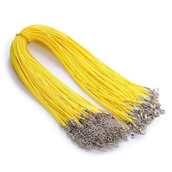 20 Pieces of Yellow Genuine Leather Necklace Cord Rope Chains for Jewellery Making Pendants