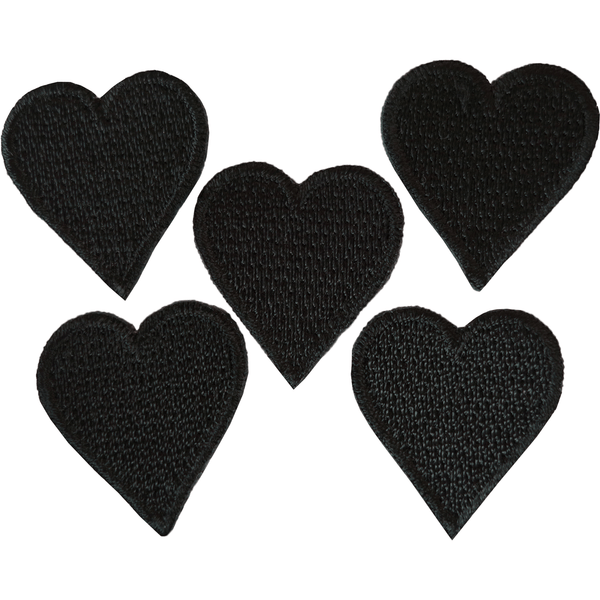 5 Small Size Black Love Heart Patches Iron Sew On Badges Embroidered Badge Patch