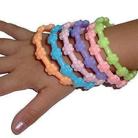 6 x Girls Kids Toddler Bracelets Wristbands Flower Floral Bangles Childrens Toy