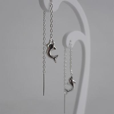 925 Sterling Silver Dolphin Threader Stud Earrings Dangle Drop Pull Thread Chain