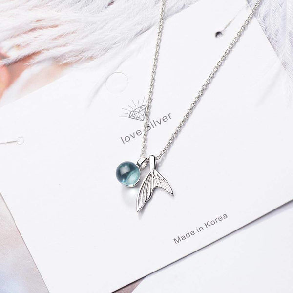 925 Sterling Silver Mermaid Tail Pendant Blue Crystal and Necklace Chain
