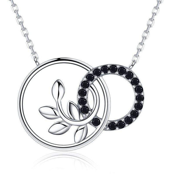 925 Sterling Silver Round Floral Pendant and Necklace Chain with Black Spinel Stones