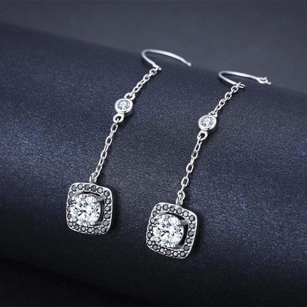 925 Sterling Silver Threader Earrings Pull Through Drop Black Spinel Stones Zircon Crystals