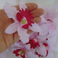 Artificial Pink Red Orchid Flower Heads Silk Fake Hair Clip Alice Band Flowers