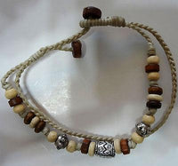 Beige Brown Cream Silver Colour Beads Bracelet Wristband Ladies Mens Jewellery