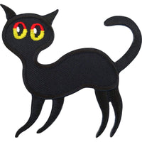 Black Cat Patch Embroidered Iron On Badge / Sew On T Shirt Bag Coat Lucky Charm