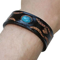 Black Leather Turquoise Stone Bracelet Wristband Bangle Mens Womens Jewellery Black Leather Turquoise Stone Bracelet Wristband Bangle Mens Womens Jewellery
