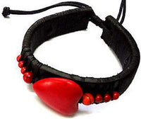 Black Red Heart Leather Bracelet Wristband Bangle Ladies Girls Womens Jewellery