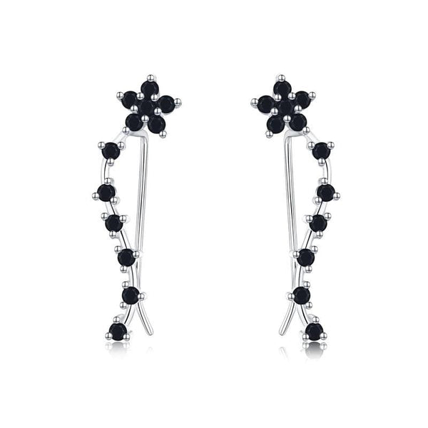 Black Spinel Gemstone Flower 925 Sterling Silver Stud Cuff Earrings