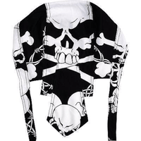 Black White Skull Zandana Bandana Motorbike Biker Sun Hat Cap Pirate Fancy Dress