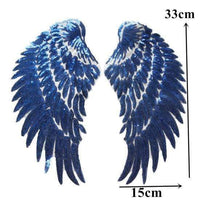 Blue Angel Wings Iron On Patch / Sew On Large Cherub Wings Sequin Embroidered Badge Sequins Embroidery Applique