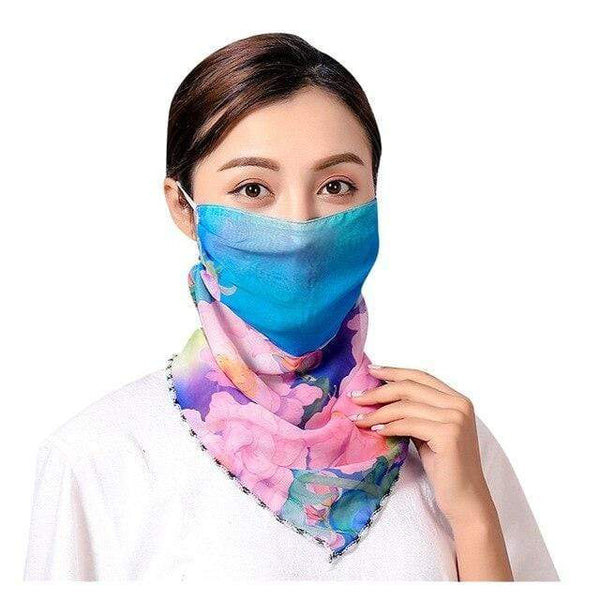 Blue Pink Floral Chiffon Silk Scarf Fabric Reusable Face Mask Washable Face Covering