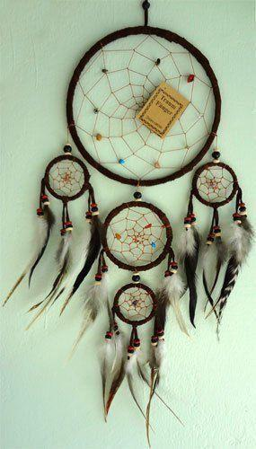 Brown Handmade Native American Indian Web Dreamcatcher Feathers Suede Medium