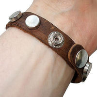Brown Leather Bracelet Silver Tone Studs Wristband Bangle Mens Womens Jewellery