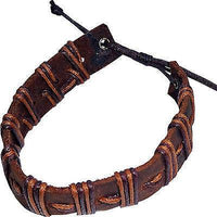 Brown Leather Bracelet Wristband Bangle Mens Womens Boys Girls Surfer Jewellery