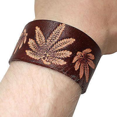 Brown Leather Cannabis Bracelet Wristband Bangle Mens Womens Ladies Jewellery