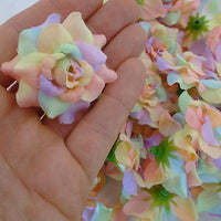 Bulk Artificial Roses Silk Fake Fabric Flower Heads for Alice Bands Hair Clips
