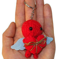 Cherub Cupid Blue Wings Red Love Heart Voodoo Doll Keychain Gift Toy Bag Charm