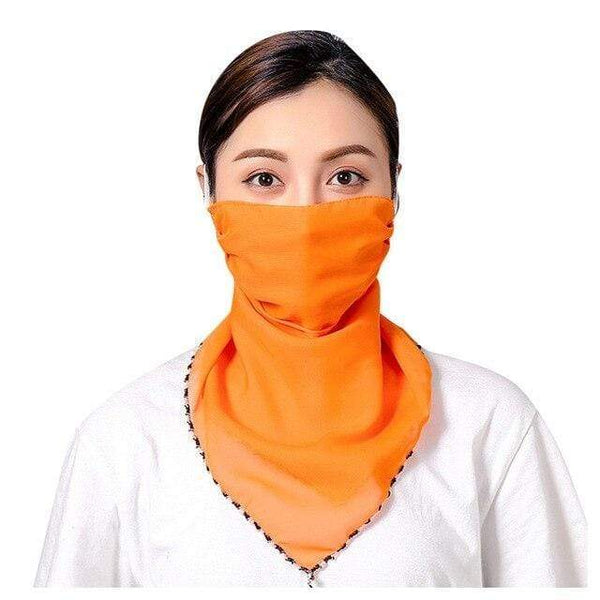 Chiffon Silk Fabric Orange Reusable Face Covering Washable Face Mask Scarf