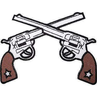 Cowboy Guns Embroidered Iron / Sew On Clothes Hat Patch Sheriff Pistol Gun Badge