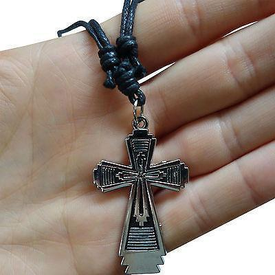 Cross Pendant Chain Necklace Choker Silver Tone Womens Mens Childrens Girls Boys