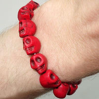 Elastic Red Skull Charm Bead Bracelet Wristband Bangle Mens Womens Boy Girl Kids Elastic Red Skull Charm Bead Bracelet Wristband Bangle Mens Womens Boy Girl Kids