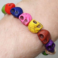 Elastic Skull Charm Bead Bracelet Wristband Bangle Ladies Womens Girls Jewellery