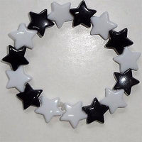 Elasticated Black White Star Bead Bracelet Wristband Bangle Kids Girls Jewellery