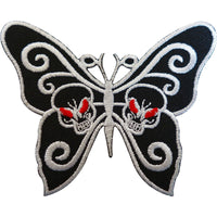 Embroidered Skull Butterfly Patch Badge Iron Sew On Clothes Bags Goth Punk Rock