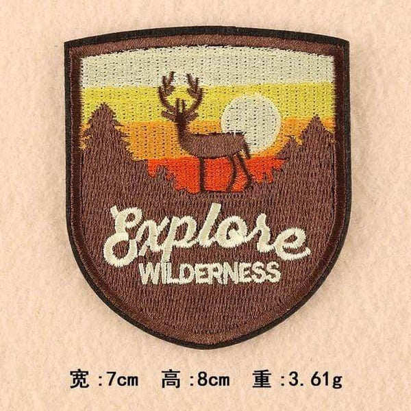 Explore Wilderness Patch Iron On Sew On Embroidered Badge Embroidery Applique Outdoor Camping Hiking Theme