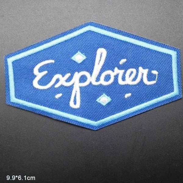 Explorer Patch Iron On Sew On Embroidered Badge Embroidery Applique Outdoor Camping Hiking Theme