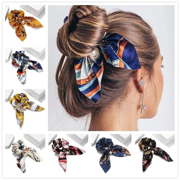 Fabric Bow Knot Elastic Hair Bands Scrunchies Bobbles