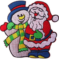 Father Christmas Snowman Embroidered Iron / Sew On Patch XMAS Decoration Badge