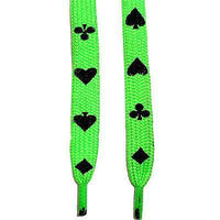 Flat Neon UV Green Playing Cards Poker Shoe Trainers Sneaker Boot Plimsoll Laces