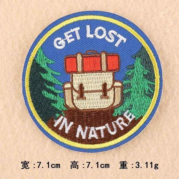 Get Lost In Nature Patch Iron On Sew On Embroidered Badge Embroidery Applique Outdoor Camping Hiking