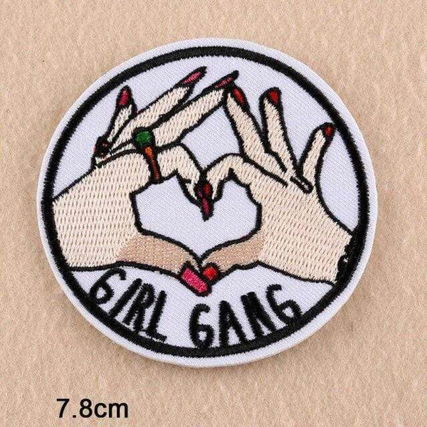 Girl Gang Patch Iron On Patch Sew On Patch Embroidered Badge Embroidery Motif Applique Heart Sign Hands Gesture