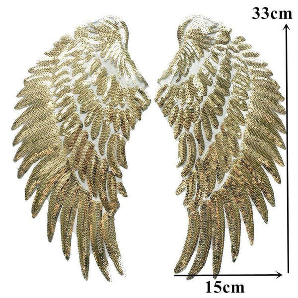 Gold Angel Wings Iron On Large Patch / Sew On Cherub Wings Sequin Embroidered Badge Sequins Embroidery Applique