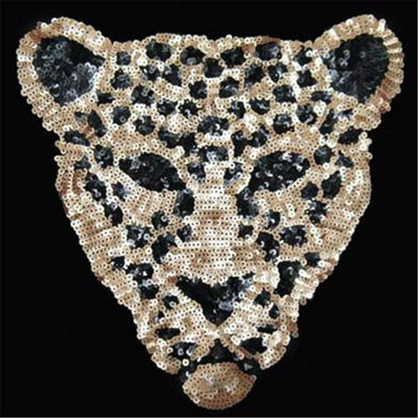 Gold Sequin Large Leopard Patch Sew On Patch Big Embroidered Badge Embroidery Motif Applique