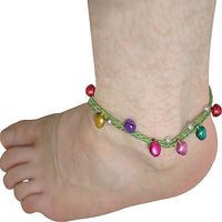Green Ankle Bracelet Foot Anklet Chain Multi Colour Silver Bells Feet Jewellery