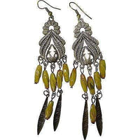 Green Bronze Beads Dangle Drop Hook Earrings Womens Kids Girls Ladies Jewellery