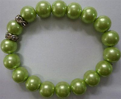 Green Faux Pearl Bracelet Wristband Bangle Womens Ladies Childs Girls Jewellery Green Faux Pearl Bracelet Wristband Bangle Womens Ladies Childs Girls Jewellery