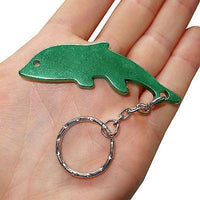 Green Metal Dolphin Key Ring Chain Fob Bottle Opener Keyring Keychain Bag Charm