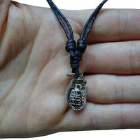 Grenade Silver Tone Pendant Chain Necklace Choker Charm Mens Womens Girls Boys