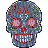 Grey Floral Tattoo Skull Embroidered Iron / Sew On Clothes Patch Badge Transfer